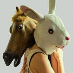 mask rabbit and horse mask lesbian couple